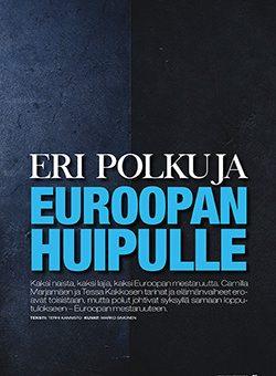 """Teksti: """"Eri polkuja Euroopan huipulle"""""""